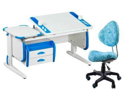 Комплект ДЭМИ Парта Techno СУТ 31-03 с тумбой с креслом Aladdin и прозрачной накладкой на парту 65х45