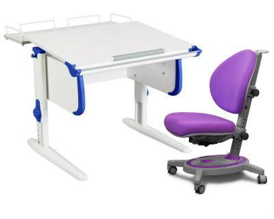 Комплект ДЭМИ Парта WHITE СТАНДАРТ СУТ-24-01 с креслом Stanford и прозрачной накладкой на парту 65х45