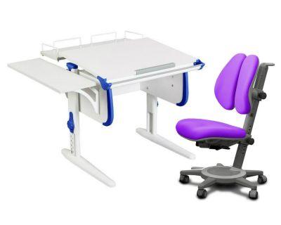 Комплект ДЭМИ Парта WHITE СТАНДАРТ СУТ-24-02 с креслом Cambridge Duo и прозрачной накладкой на парту 65х45