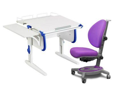Комплект ДЭМИ Парта WHITE СТАНДАРТ СУТ-24-02 с креслом Stanford и прозрачной накладкой на парту 65х45