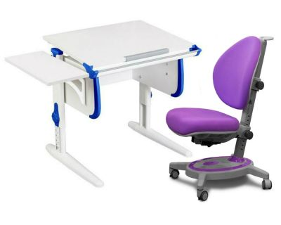 Комплект ДЭМИ Парта WHITE СТАНДАРТ СУТ-24К с креслом Stanford и прозрачной накладкой на парту 65х45
