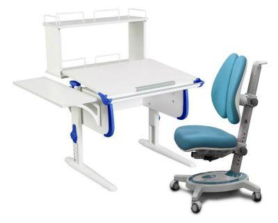 Комплект ДЭМИ Парта WHITE СТАНДАРТ СУТ-24-02Д с креслом Stanford Duo и прозрачной накладкой на парту 65х45
