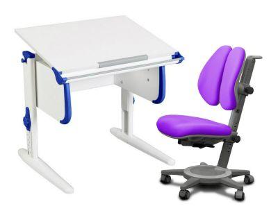Комплект ДЭМИ Парта WHITE СТАНДАРТ СУТ 24 с креслом Cambridge Duo и прозрачной накладкой на парту 65х45