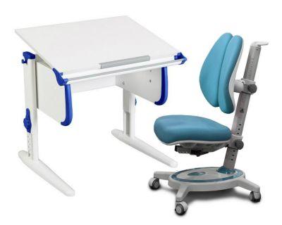 Комплект ДЭМИ Парта WHITE СТАНДАРТ СУТ 24 с креслом Stanford Duo и прозрачной накладкой на парту 65х45
