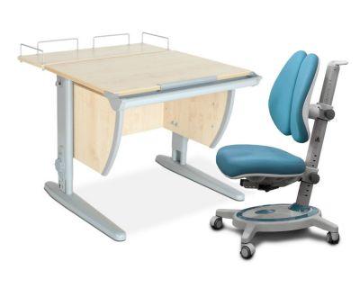 Комплект ДЭМИ Парта СУТ-14-01 75х55 см с задней приставкой с креслом Stanford Duo и прозрачной накладкой на парту 65х45