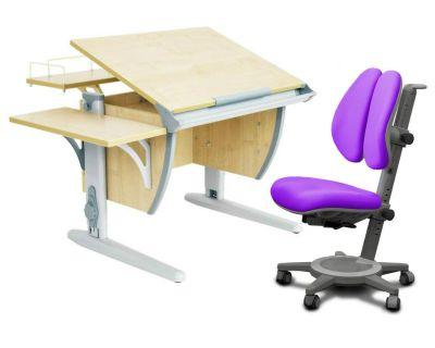 Комплект ДЭМИ Парта СУТ-14-02 75х55 см с задней и боковой приставкой с креслом Cambridge Duo и прозрачной накладкой на парту 65х45