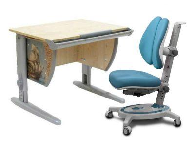 Комплект ДЭМИ Парта СУТ-14P 75х55 см с рисунком с креслом Stanford Duo и прозрачной накладкой на парту 65х45