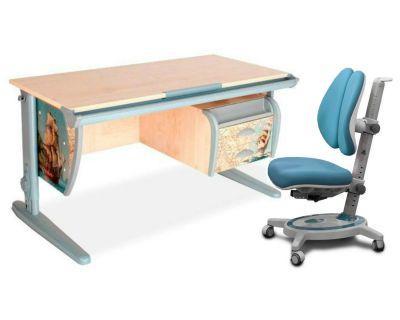Комплект ДЭМИ Парта СУТ-15-03P 120х55 см с рисунком с креслом Stanford Duo и прозрачной накладкой на парту 65х45