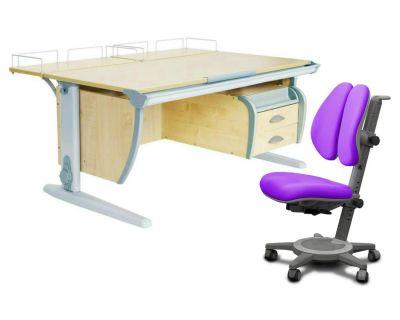 Комплект ДЭМИ Парта СУТ-15-04 120х55 см с задней приставкой с креслом Cambridge Duo и прозрачной накладкой на парту 65х45