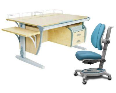 Комплект ДЭМИ Парта СУТ-15-05 120х55 см с креслом Stanford Duo и прозрачной накладкой на парту 65х45