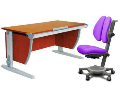 Комплект ДЭМИ Парта СУТ-15 120х55 см с креслом Cambridge Duo и прозрачной накладкой на парту 65х45