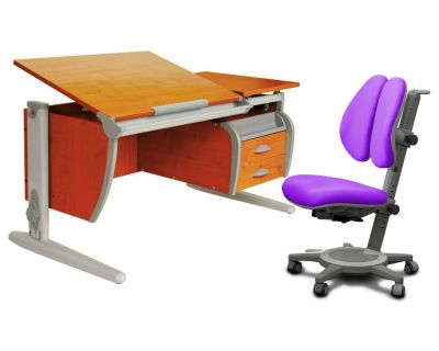 Комплект ДЭМИ Парта СУТ-17-04 120х80 см с креслом Cambridge Duo и прозрачной накладкой на парту 65х45