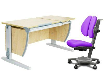 Комплект ДЭМИ Парта СУТ-17 120Х55 см с раздельной столешницей с креслом Cambridge Duo и прозрачной накладкой на парту 65х45