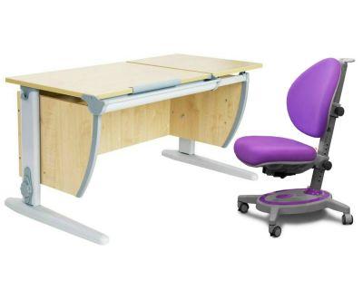 Комплект ДЭМИ Парта СУТ-17 120Х55 см с раздельной столешницей с креслом Stanford и прозрачной накладкой на парту 65х45
