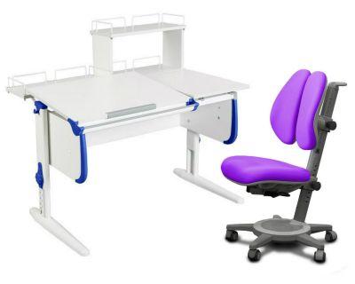 Комплект ДЭМИ Парта СУТ-25-01Д WHITE DOUBLE с раздельной столешницей с креслом Cambridge Duo и прозрачной накладкой на парту 65х45