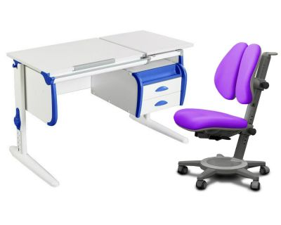 Комплект ДЭМИ Парта СУТ-25-03 WHITE DOUBLE с креслом Cambridge Duo и прозрачной накладкой на парту 65х45