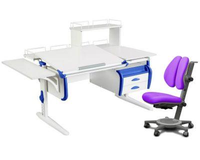 Комплект ДЭМИ Парта СУТ-25-05Д WHITE DOUBLE с креслом Cambridge Duo и прозрачной накладкой на парту 65х45