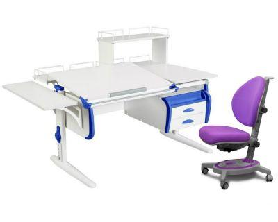 Комплект ДЭМИ Парта СУТ-25-05Д WHITE DOUBLE с креслом Stanford и прозрачной накладкой на парту 65х45