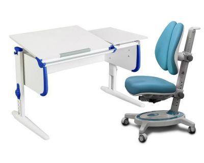 Комплект ДЭМИ Парта СУТ-25 WHITE DOUBLE с раздельной столешницей с креслом Stanford Duo и прозрачной накладкой на парту 65х45
