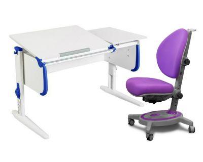 Комплект ДЭМИ Парта СУТ-25 WHITE DOUBLE с раздельной столешницей с креслом Stanford и прозрачной накладкой на парту 65х45