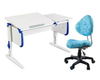 Комплект ДЭМИ Парта СУТ-25 WHITE DOUBLE с раздельной столешницей с креслом Aladdin и прозрачной накладкой на парту 65х45