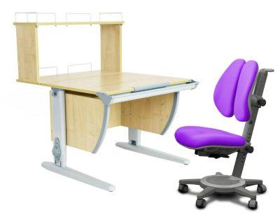 Комплект ДЭМИ Парта СУТ 14-01Д с креслом Cambridge Duo и прозрачной накладкой на парту 65х45