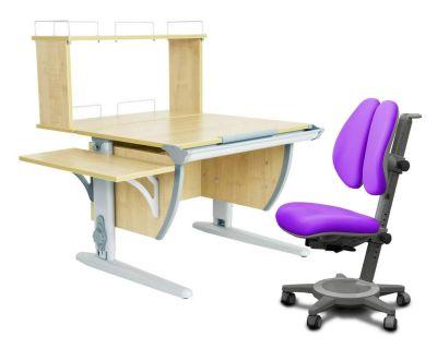 Комплект ДЭМИ Парта СУТ 14-02Д с креслом Cambridge Duo и прозрачной накладкой на парту 65х45