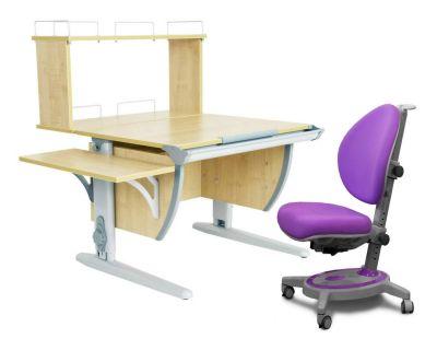Комплект ДЭМИ Парта СУТ 14-02Д с креслом Stanford и прозрачной накладкой на парту 65х45