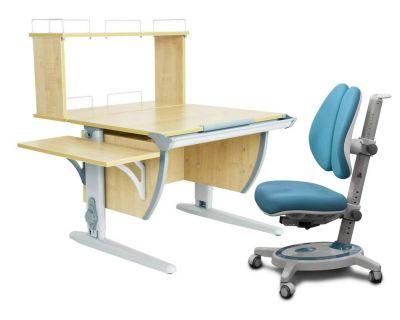 Комплект ДЭМИ Парта СУТ 14-02Д с креслом Stanford Duo и прозрачной накладкой на парту 65х45
