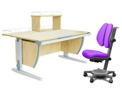 Комплект ДЭМИ Парта СУТ 15-01Д с креслом Cambridge Duo и прозрачной накладкой на парту 65х45