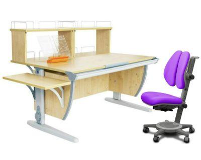 Комплект ДЭМИ Парта СУТ 15-02Д2 с креслом Cambridge Duo и прозрачной накладкой на парту 65х45
