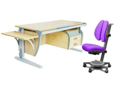 Комплект ДЭМИ Парта СУТ 15-03К с креслом Cambridge Duo и прозрачной накладкой на парту 65х45