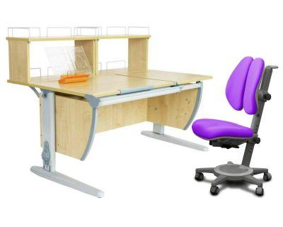 Комплект ДЭМИ Парта СУТ 17-01Д2 с креслом Cambridge Duo и прозрачной накладкой на парту 65х45