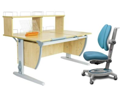 Комплект ДЭМИ Парта СУТ 17-01Д2 с креслом Stanford Duo и прозрачной накладкой на парту 65х45