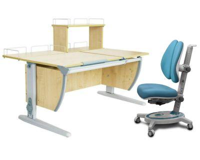 Комплект ДЭМИ Парта СУТ 17-01Д с креслом Stanford Duo и прозрачной накладкой на парту 65х45