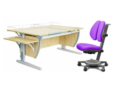 Комплект ДЭМИ Парта СУТ 17-02 с креслом Cambridge Duo и прозрачной накладкой на парту 65х45