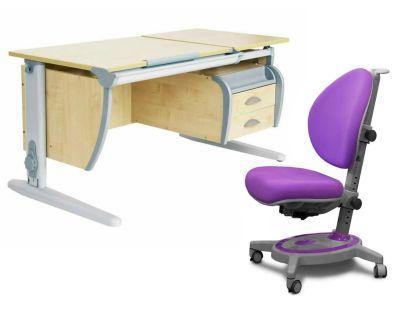 Комплект ДЭМИ Парта СУТ 17-03 120Х55 см с подвесной тумбой с креслом Stanford и прозрачной накладкой на парту 65х45