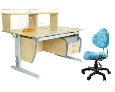 Комплект ДЭМИ Парта СУТ 17-04Д2 с креслом Aladdin и прозрачной накладкой на парту 65х45