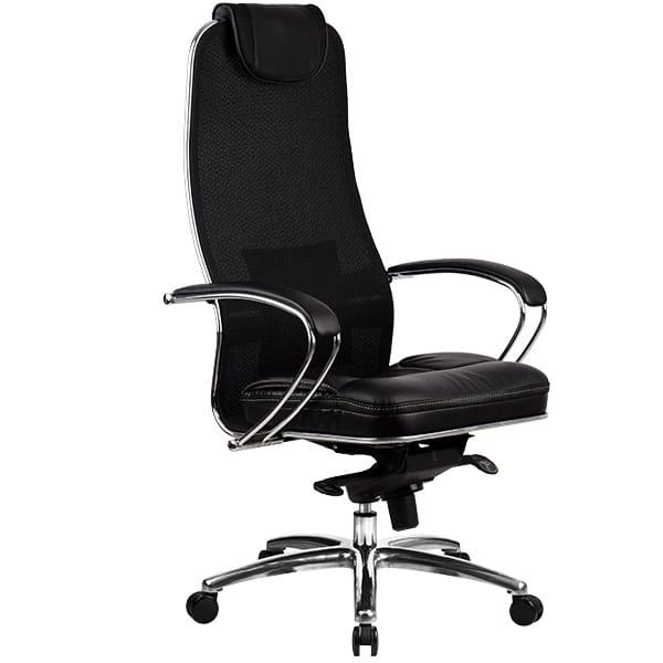 Офисное кресло Metta SAMURAI SL-1.03 Black Plus Ткань и эко-кожа Черный плюс Серебро