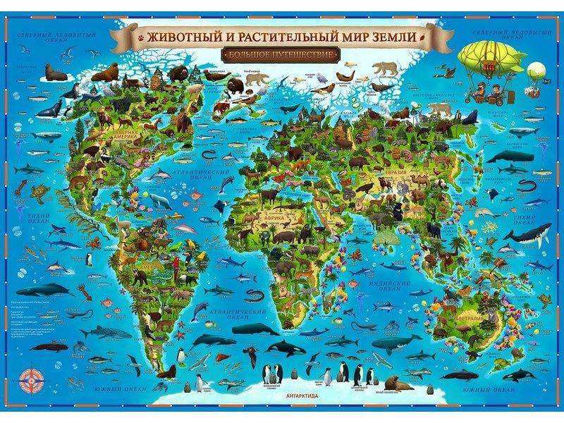 """Аксессуар ГеоДом Детская ламинированная карта Мира """"Животный и растительный мир Земли"""" 59х42 страны и народы мира карта настенная ламинированная"""