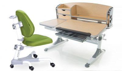 Комплект Mealux Парта Aivengo - L с компьютерным креслом Champion и прозрачной накладкой на парту 65х45