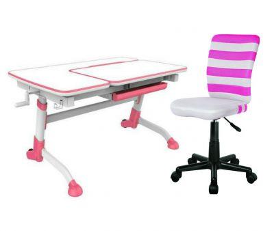 Комплект FunDesk Парта-трансформер Amare с креслом LST9 и прозрачной накладкой на парту 65х45