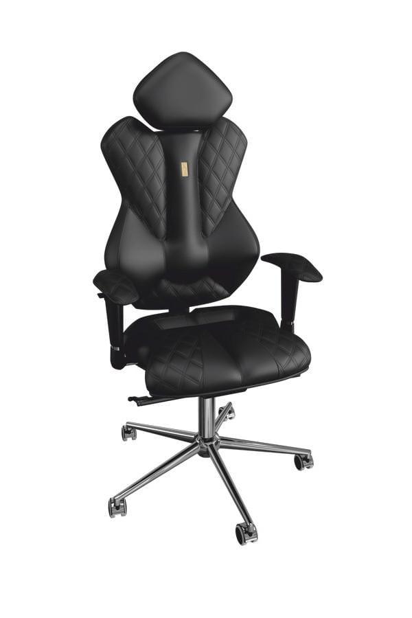 Офисное кресло Kulik System Royal Black с индивидуальной прошивкой Design и 3D подголовником Металл Черный Серебро