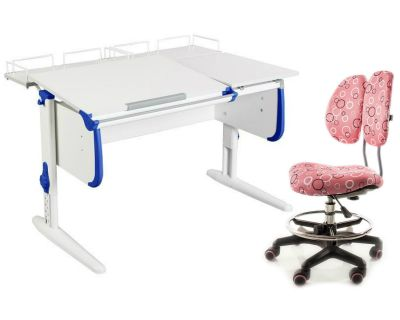 Комплект ДЭМИ Парта СУТ-25-01 WHITE DOUBLE с раздельной столешницей с креслом Simba и прозрачной накладкой на парту 65х45