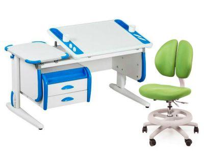 Комплект ДЭМИ Парта Techno СУТ 31-03 с тумбой с креслом Duo Kid mini и прозрачной накладкой на парту 65х45