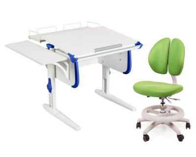 Комплект ДЭМИ Парта WHITE СТАНДАРТ СУТ-24-02 с креслом Duo Kid mini и прозрачной накладкой на парту 65х45