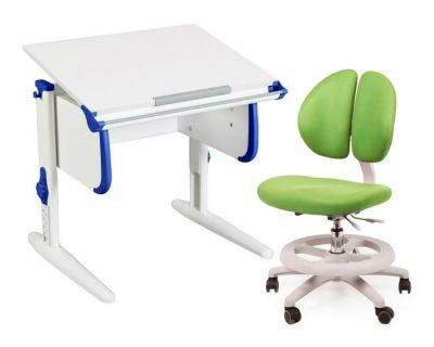 Комплект ДЭМИ Парта WHITE СТАНДАРТ СУТ 24 с креслом Duo Kid mini и прозрачной накладкой на парту 65х45