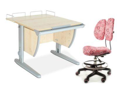 Комплект ДЭМИ Парта СУТ-14-01 75х55 см с задней приставкой с креслом Simba и прозрачной накладкой на парту 65х45