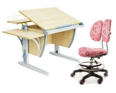 Комплект ДЭМИ Парта СУТ-14-02 75х55 см с задней и боковой приставкой с креслом Simba и прозрачной накладкой на парту 65х45