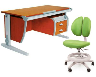Комплект ДЭМИ Парта СУТ-15-03 120х55 см с креслом Duo Kid mini и прозрачной накладкой на парту 65х45